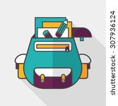backpack flat icon with long... | Shutterstock .eps vector #307936124