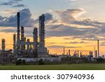 oil refinery at twilight | Shutterstock . vector #307940936