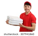 delivery boy with cardboard... | Shutterstock . vector #307941860