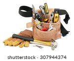 variety of tools with tool belt ... | Shutterstock . vector #307944374