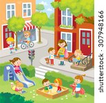 cute children in the town | Shutterstock .eps vector #307948166