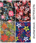 floral seamless pattern  ... | Shutterstock .eps vector #307954196