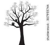 horror tree with owls | Shutterstock .eps vector #307955744