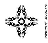 tribal cross tattoo designs.... | Shutterstock .eps vector #307957520