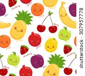 seamless pattern of fruits ... | Shutterstock .eps vector #307957778