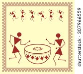 indian tribal painting. warli... | Shutterstock .eps vector #307966559