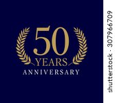 50 years old luxurious logo.... | Shutterstock .eps vector #307966709