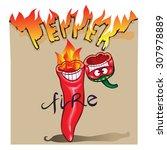 red chilli pepper isolated on...   Shutterstock .eps vector #307978889
