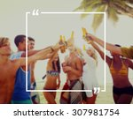 holiday summer vacation frame... | Shutterstock . vector #307981754