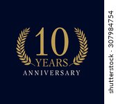 10 years old luxurious logo.... | Shutterstock .eps vector #307984754