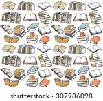 book collection seamless vector ... | Shutterstock .eps vector #307986098