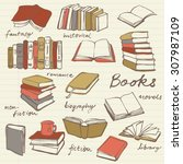 doodle book collection   vector ... | Shutterstock .eps vector #307987109
