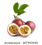 passion fruit isolated on white ... | Shutterstock . vector #307992050
