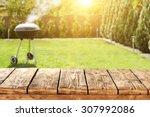 grill in garden and wooden... | Shutterstock . vector #307992086