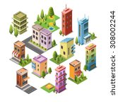 isometric concept buildings ... | Shutterstock .eps vector #308002244
