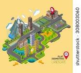 flat vector map landscape ... | Shutterstock .eps vector #308003060