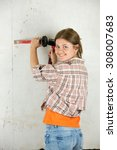 young female worker with ... | Shutterstock . vector #308007683