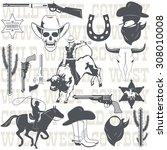 set of wild west cowboy...   Shutterstock .eps vector #308010008