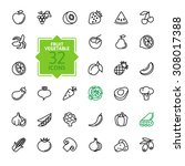 outline web icon set   fruit... | Shutterstock .eps vector #308017388