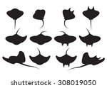 Set Of Stingray Silhouette And...