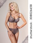beautiful woman blonde long... | Shutterstock . vector #308026658