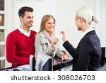 young couple check in at hotel... | Shutterstock . vector #308026703