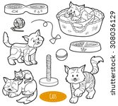 Stock vector colorless set of cute domestic animals and objects vector family cats and objects 308036129