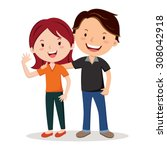 young happy couple. young... | Shutterstock .eps vector #308042918