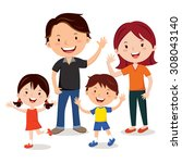 family fun. family. happy... | Shutterstock .eps vector #308043140