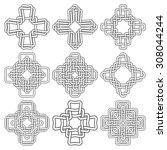 set of celtic knotting crosses. ...   Shutterstock .eps vector #308044244