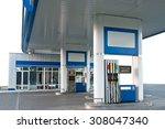gas station on the white... | Shutterstock . vector #308047340