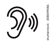 ear icon. hearing symbol... | Shutterstock .eps vector #308049086