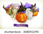 happy halloween  vector... | Shutterstock .eps vector #308052290