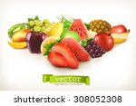harvest juicy fruit and berries ... | Shutterstock .eps vector #308052308