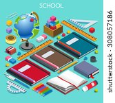 school chancellery set 07.... | Shutterstock .eps vector #308057186
