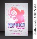 fashion show flyer brochure... | Shutterstock .eps vector #308077583