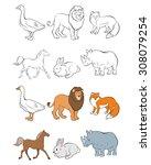 vector illustration of six... | Shutterstock .eps vector #308079254