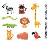 african animals fun cartoon...   Shutterstock .eps vector #308082920