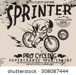 Bicycle Sprinter Vintage Vecto...