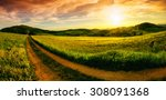 Rural Landscape Panorama With ...