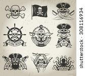 pirate logo set. jolly roger ...   Shutterstock .eps vector #308116934