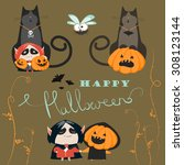 halloween characters icon set.... | Shutterstock .eps vector #308123144
