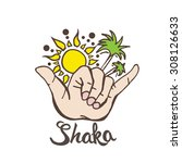 shaka surf hand sign with palms ... | Shutterstock .eps vector #308126633