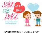 save the date invitation card...   Shutterstock .eps vector #308131724