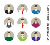 male and female faces avatars.... | Shutterstock .eps vector #308132048
