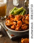spicy homemade buffalo wings... | Shutterstock . vector #308133710