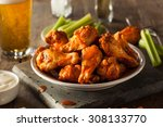 spicy homemade buffalo wings... | Shutterstock . vector #308133770
