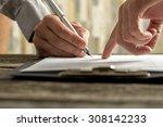 closeup of businessman showing... | Shutterstock . vector #308142233