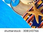 beach hat  bath towels  cell... | Shutterstock . vector #308143766