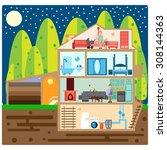 house in cut. modern house... | Shutterstock . vector #308144363